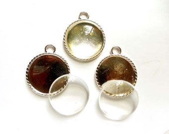 3 Antique Silver Settings With Glass Cabochons - 27-24-2