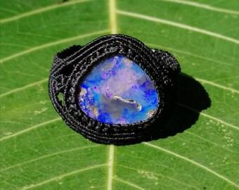 Koroit Boulder Opal set in Micro Macrame Ring - Australian precious gem, etno chic, slow fashion, gem therapy, October birthstone