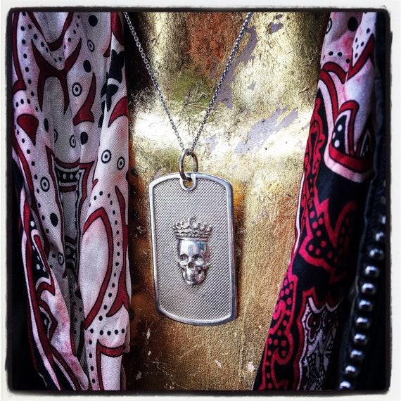 Etherial Jewelry Rock Chic Talisman Luxury Biker Custom Handmade Artisan Pure Sterling Silver .925 Handcrafted Badass Skull Dog Tag Pendant