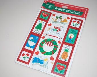 Christmas Stickers 4 Sheets New NIP Vintage 1985 Hallmark Ambassador