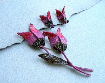 Vintage Signed ART Enamel Flower Brooch Earrings Set Pink Tulips