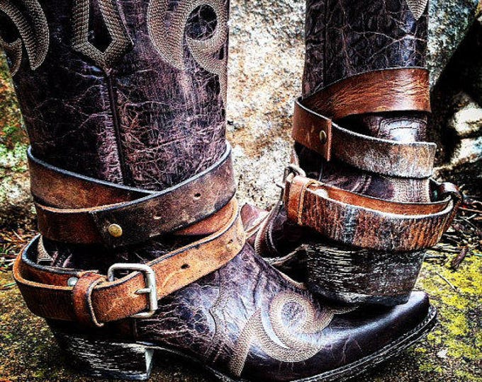 Distressed Rustic Brown OLD WEST Vintage Genuine Leather Adjustable Layered Boot Belts, One Pair - 2 Extra Long Boot Straps For Your Boots