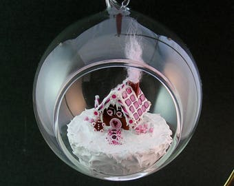 Gingerbread House Ornament with Gift Box