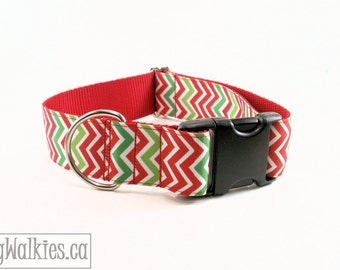 """Zig Zag Christmas Dog Collar / 1.5"""" (38mm) Wide / Red & Green Chevrons / Choice of style and size - Martingale Dog Collars or Quick Release"""