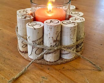 Votive holder, corks, cork votive holder, votives, gifts, art by carole, art by carole store, decorative, candles, illumination, wine cork