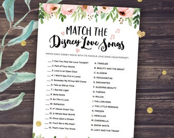 Bridal Shower Games Instant Download: Disney Love Songs Matching Game, Printable Bridal Shower Game, Match the Disney Love Songs, Matchup