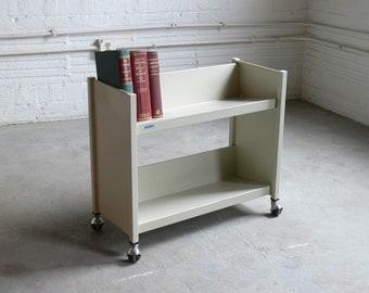Mid Century Modern Library Roll Cart // Bookshelf // Storage