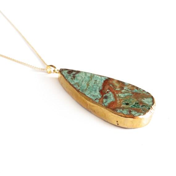 Long African Opal Jasper Teardrop Pendant Necklace