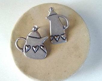 """Sterling silver """"Teapot"""" post earrings"""
