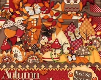 On Sale 50% Off Digital Scrapbooking Autumn Splendor - Digital Scrapbook Kit