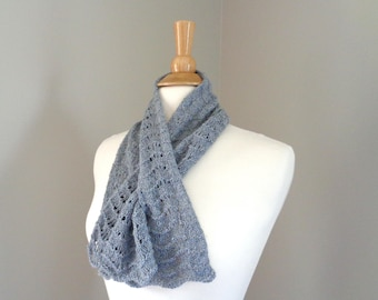 Lacy Neck Scarf, Pull Through Keyhole Scarf, Hand Knit, Luxury Natural Fiber, Mink Merino Silk, Medium Gray