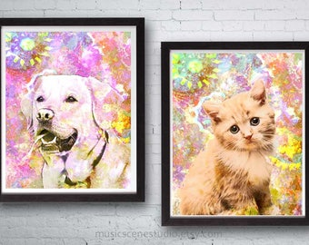 Personalized Art, Custom Cat Art, Custom Pet Art, Custom Dog Art, Personalized Pet Art, Pet Memorial, Pet Pop Art, Custom Pet Portrait, Dog