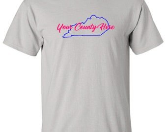 Kentucky County with Outline of State, Kentucky Proud, Adult Unisex Tshirt, Show Off Your County, Select 2 Vinyl Colors