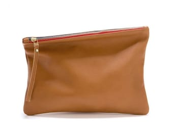 Brown leather clutch, evening bag, foldover leather clutch bag