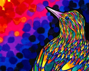 Brazen Bird (Psychedelic Rainbow Colorful Trippy Magnificent Vibrant Bird Drawing in Copic Marker and Ink)
