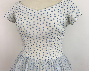 Original 1950s dress 1960s Spotty dress Blue white puffball skirt spotted 50s party Dress nylon Peck UK 14 pin up rockabilly VLV