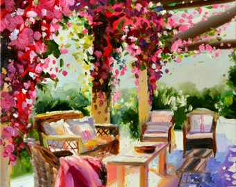 Original Painting of BOUGAINVILLEA PERGOLA, purple and ochre, sunlit courtyard, Large Painting, French shutters