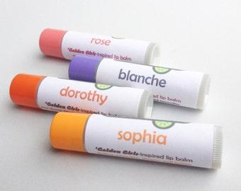 Golden Girls-inspired lip balm set - Dorothy, Sophia, Blanche and Rose lip balms