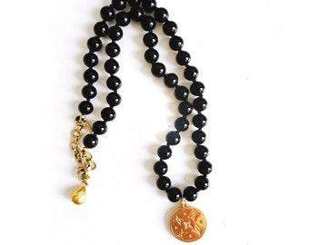 Vintage Black Beaded LV Designer Button Charm Necklace
