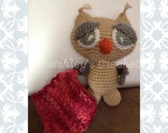 Owl, Sleepy, Crochet Owl, Crochet Stuffed Owl, Owl Toy, Woodland Creature, Owl, Stuffed Owl, Owl Decor, Owl Nursery, Stuffed Woodland Animal