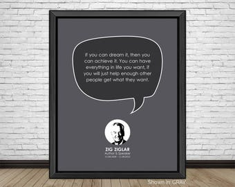 Zig Ziglar, Famous Quotes, Inspirational Quotes, Motivational Quotes, Business Quotes, Author & Motivational Speaker, Minimalist, Art Print