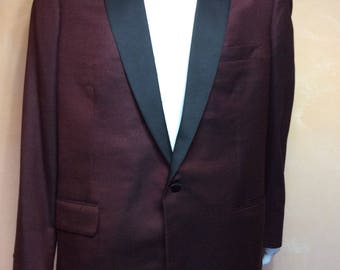 Mens Suit Coat Jacket Tuxedo Jacket Custom Made by Holland & Sherry Burgundy Black tweed