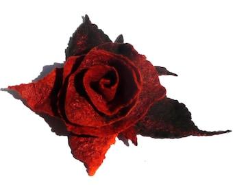Russet Flower Brooch, Felt Brooch, Felt Flower Brooch, Felted Flower Brooch, Felt Flower, Felt Jewelry, Gift For Her,Russet Flower Pin