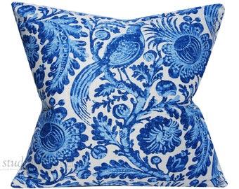 Blue and White Floral with Bird - 22x22 - Tucker Chambray - Indigo - Linen - ready to ship