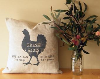 FRESH EGGS Australian free range ~ Linen cushion