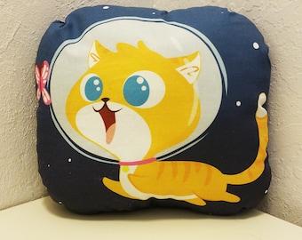 """Cute Space Cat Extraordinaire 12"""" Cotton Pillow"""