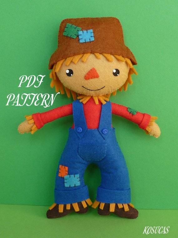 PDF sewing pattern to make felt scarecrow. from Kosucas on Etsy Studio
