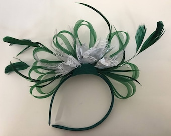 Emerald Green & Silver Feathers Fascinator On Headband