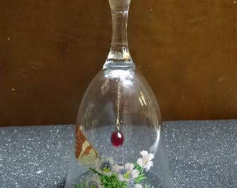 Very Pretty Glass Bell/Butterfly/Collectable/Vintage