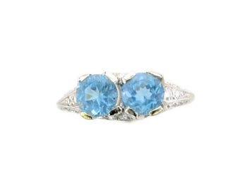 Platinum Aquamarine and Diamond Edwardian Ring, Antique Aqua Ring, Platinum Ring, Aquamarine and Diamond Ring, March Birthstone