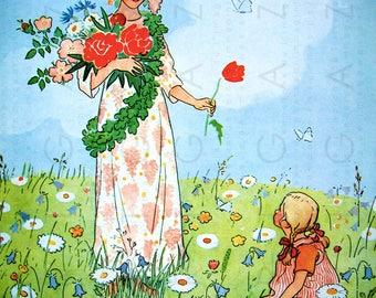Little Girl & Spring Fairy. Adorable Fairy Tale ILLUSTRATION. Elsa Beskow Vintage Waldorf Art. Spring Digital Download.