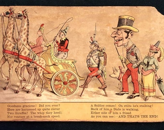 Wonderful 1888 Circus Full Color Chromolithograph Original Childrens Book Print From The Circus Procession #11 Wall Art Print Picture