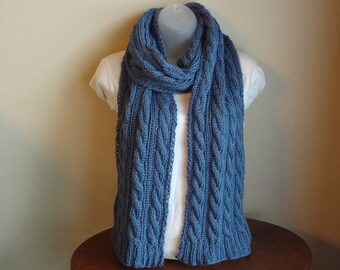 Soft Cable Knit Scarf Ready to Be Shipped Denim Color