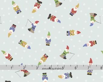 Garden Gnomes Fabric, Lewis & Irene Grandma's Garden A199 2, Garden Gnomes on Pale Blue, Mini Gnomes Quilt Fabric, Cotton Yardage