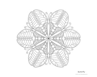 Mandala to Color: Butterfly - 11x8.5 - PDF VERSION