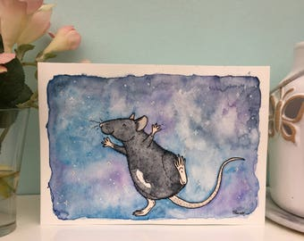 Astrid The Star Rat, Watercolour Painting, A5 6x4 Art Print, Cute Dancing Rat, Happy Pet Rat, Gift For Rat Lovers, Wall Art