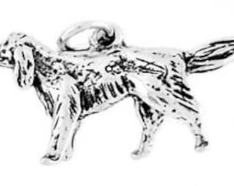 Sterling Silver Irish Setter Dog Charm Pendant (3D Charm)