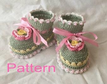 Crocheted Baby Booties Pattern PDF Springtime Baby Booties Original Design