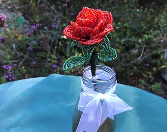 French beaded rose in vase