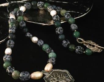 Tree necklace, hand beaded necklace, inspiration jewelry, gemstone necklace, green necklace, BOHO necklace, hippie necklace, nature necklace