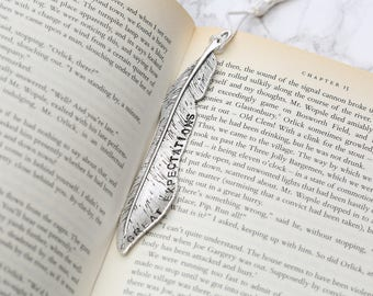 Personalised Feather shaped bookmark hand stamped up to 20 characters