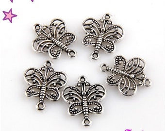 5 connectors 17 x 14 mm silver openwork Butterfly