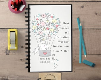 Baby Shower Gift, Parenting Advice, New Parents Gift, Baby Advice, Spiral Notebook, Lined Journal, Baby Journal. Custom Baby, Personalized