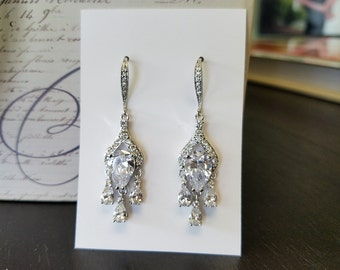 Crystal Earrings, Teardrop Dangle Earrings, Wedding Jewelry, Bridal Jewelry, Chandelier Earrings, One World Designs