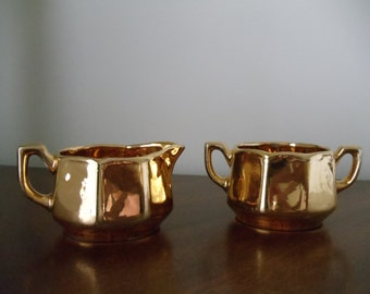 Vintage Gold Creamer and Sugar // Made in USA // f04
