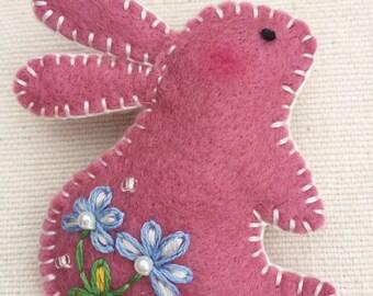 Bunny pink wool felt brooch